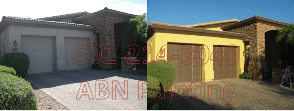 Exterior painting in Phoenix before and after 1