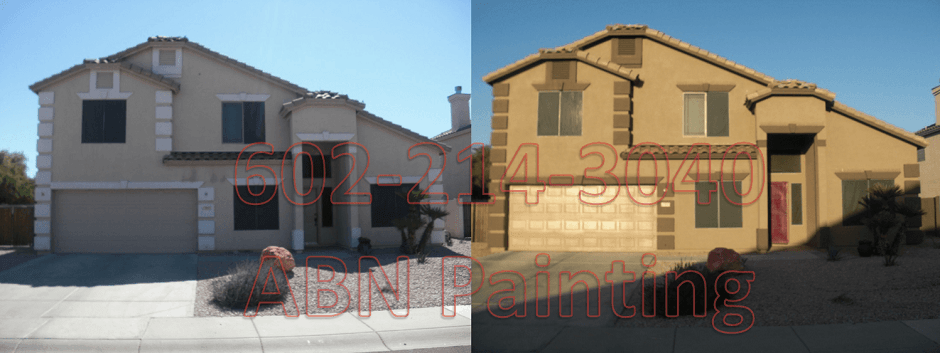 Exterior painting in Phoenix before and after 2