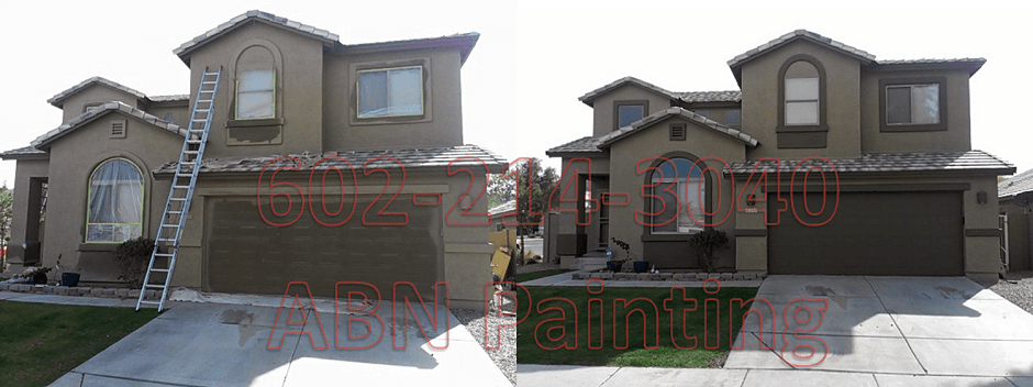 Exterior painting in Phoenix before and after