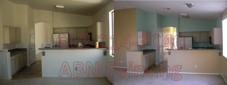 Interior painting in Phoenix before and after