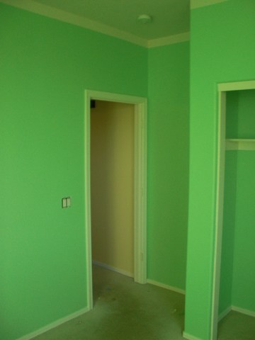 Green color painting. After image.